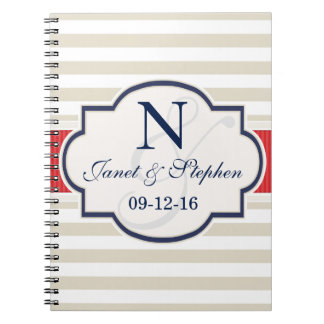 Scarlet, Navy, Eggshell Stripes Wedding Note Book