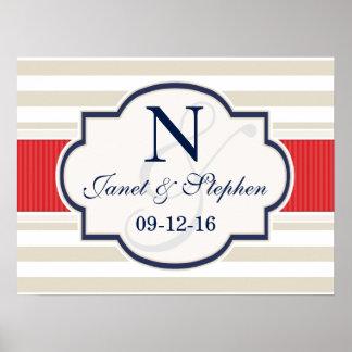 Scarlet, Navy, Eggshell Stripes Wedding Poster