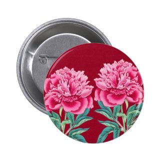 scarlet  pink peonies pinback button