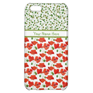 Scarlet Poppies and Buds on White Mix'n'Match iPhone 5C Case