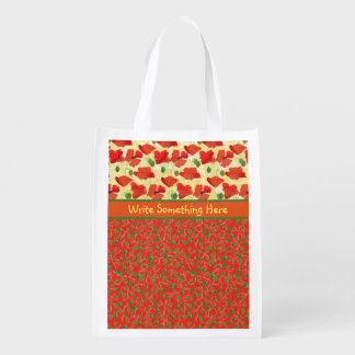 Scarlet Poppies and Buds: Re-usable Shopping Bag Grocery Bag