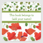 Scarlet Poppies and Poppy Buds Bookplates Square Stickers