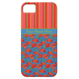 Scarlet Poppies and Stripes iPhone 5/5s Case