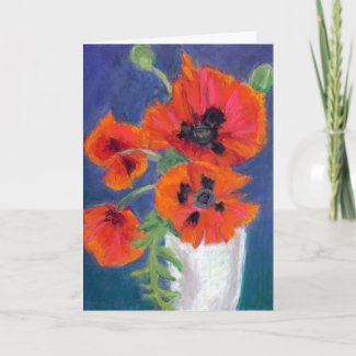 Scarlet Poppies Birthday Card card