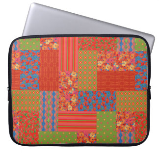 Scarlet Poppies Faux-patchwork Laptop Sleeve
