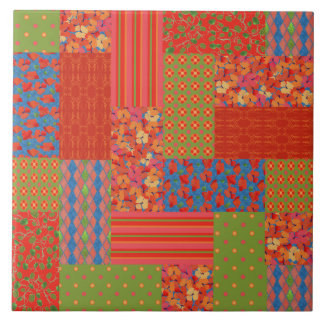Scarlet Poppies Patterns Nostalgic Faux Patchwork Tile