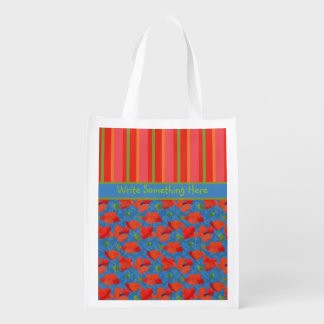 Scarlet Poppies, Stripes: Re-usable Shopping Bag Grocery Bag