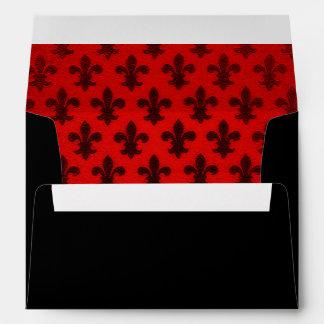 Scarlet red and black royal fleur de lis pattern envelope
