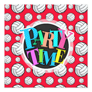Scarlet Red and White Volleyball Pattern Card