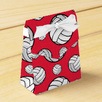 Scarlet Red and White Volleyball Pattern Favor Box