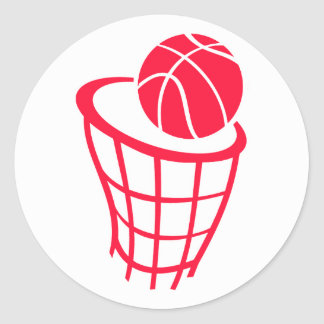 Scarlet Red Basketball Classic Round Sticker