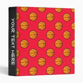 Scarlet Red Basketball Pattern Binder