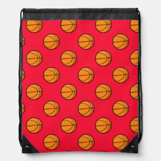 Scarlet Red Basketball Pattern Drawstring Bags