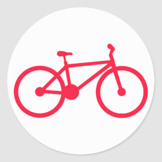 Scarlet Red Bicycle Classic Round Sticker