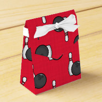 Scarlet Red Bowling Pattern Favor Box