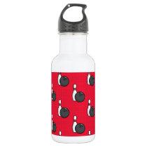 Scarlet Red Bowling Pattern Stainless Steel Water Bottle