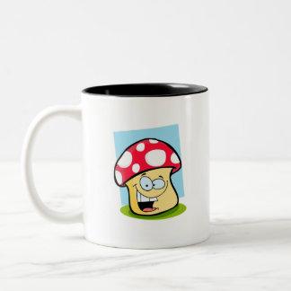 Scarlet Red Cartoon Mushroom Two-Tone Coffee Mug