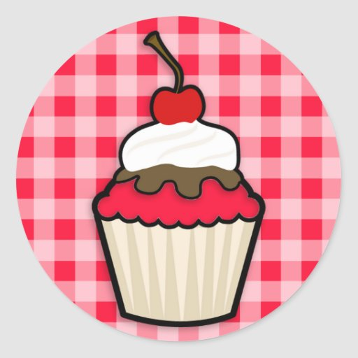 Scarlet Red Cupcake Round Stickers