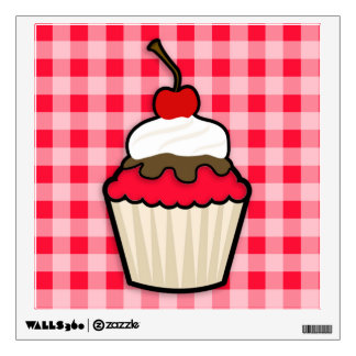 Scarlet Red Cupcake Wall Graphics