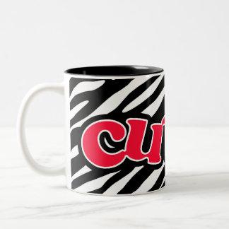 Scarlet Red Cute; Zebra Stripes Two-Tone Coffee Mug