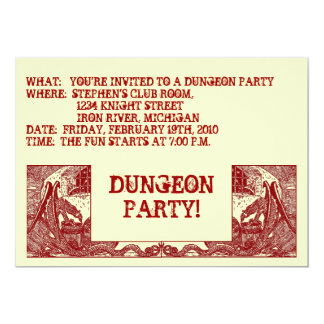 SCARLET RED DRAGONS IN DUNGEONS ~PARTY INVITATION! CARD