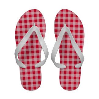 Scarlet Red Gingham Pattern Flip-Flops