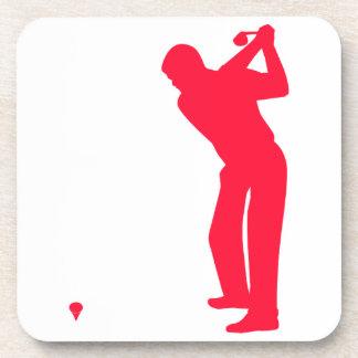 Scarlet Red Golf Beverage Coaster