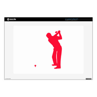 "Scarlet Red Golf Decals For 15"" Laptops"