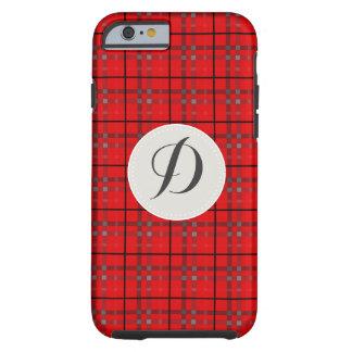 Scarlet Red, Gray, Black Monogram Name Plaid Tough iPhone 6 Case