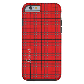Scarlet Red, Gray, Black Name Plaid Tough iPhone 6 Case