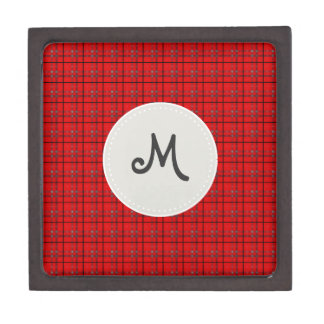 Scarlet Red, Gray, Black Plaid Jewelry Box