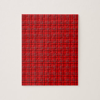 Scarlet Red, Gray, Black Plaid Jigsaw Puzzle
