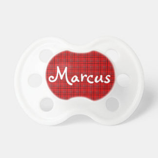 Scarlet Red, Gray, Black Plaid Pacifier