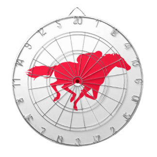 Scarlet Red Horse Racing Dartboard With Darts