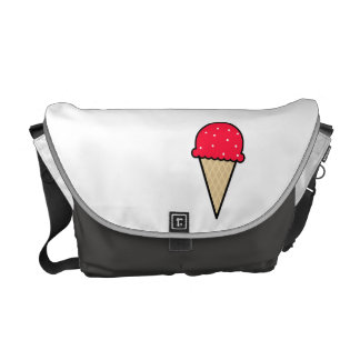 Scarlet Red Ice Cream Cone Messenger Bags
