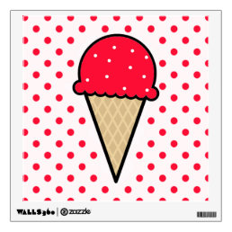Scarlet Red Ice Cream Cone Wall Sticker