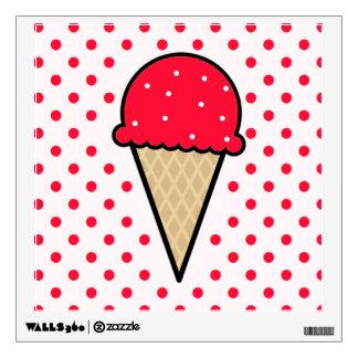 Scarlet Red Ice Cream Cone Room Sticker