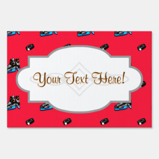 Scarlet Red Ice Hockey Pattern Sign