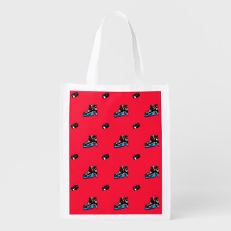 Scarlet Red Ice Hockey Pattern Reusable Grocery Bags