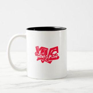Scarlet Red Love Graffiti Two-Tone Coffee Mug