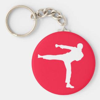 Scarlet Red Martial Arts Basic Round Button Keychain