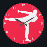 """Scarlet Red Martial Arts Large Clock<br><div class=""""desc"""">Cool  Scarlet Red martial arts silhouette.  Great gift for a trainer or anyone in Karate,  Taekwondo,  or kickboxing.   Visit our store for many more cute products. Thank You! Images used on this item are licensed and &#169; Graphics Factory.com</div>"""