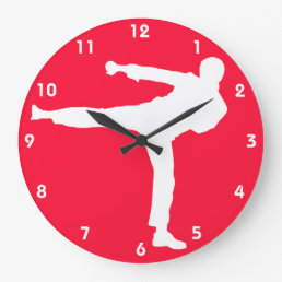 Scarlet Red Martial Arts Large Clock