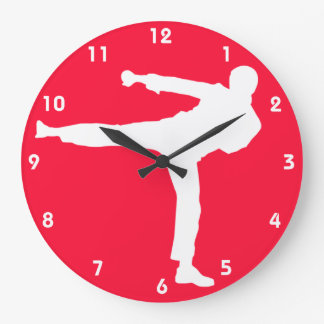 Scarlet Red Martial Arts Large Clock