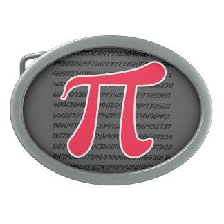 Scarlet Red Pi Symbol Oval Belt Buckle