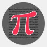 Scarlet Red Pi Symbol Round Sticker