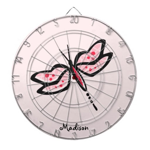 Scarlet Red & Pink Dragonfly Dartboard With Darts