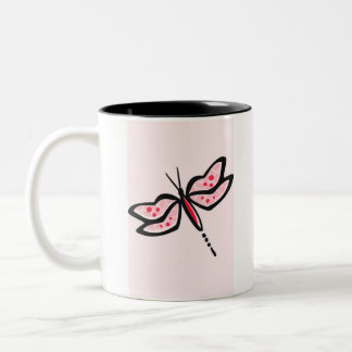 Scarlet Red & Pink Dragonfly Two-Tone Coffee Mug