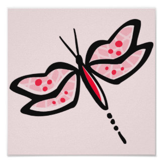 Scarlet Red & Pink Dragonfly Poster