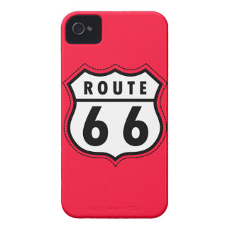 Scarlet Red Route 66 road sign iPhone 4 Cases